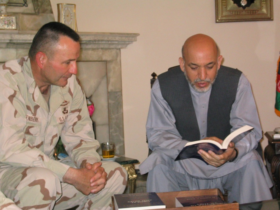 2003 09SEP 18 MG E presents Marshall Books to Pres Karzai 2