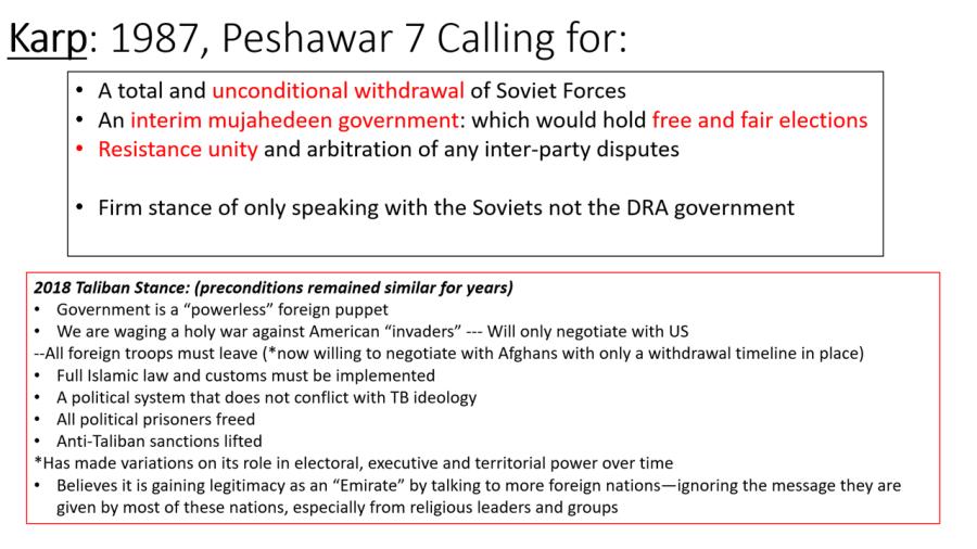 Insurgent demands 1980s versus 2019